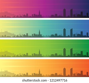 Lyon Multiple Color Gradient Skyline Banner