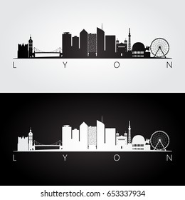 Lyon skyline and landmarks silhouette, black and white design, vector illustration.