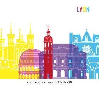 Lyon skyline pop in editable vector file