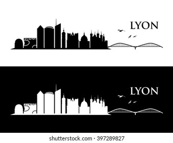 Lyon skyline - vector illustration