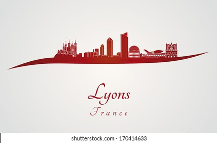 Lyons skyline in red and gray background in editable vector file