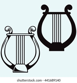 Lyre icon simple. Vector silhouettes