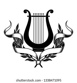 Lyre, laurel wreath and ribbon. Vector image in vintage style.