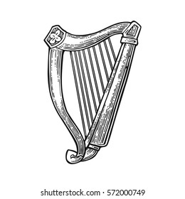 Lyre. Vector engraving black illustration isolated on white background.