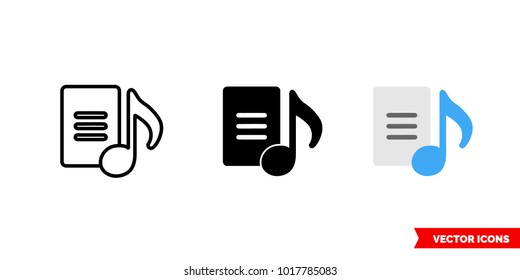 Lyrics icon of 3 types: color, black and white, outline. Isolated vector sign symbol.