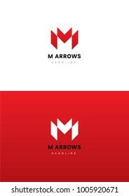 M arrows logo template.