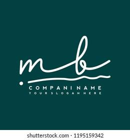 M B Initial handwriting logo vector