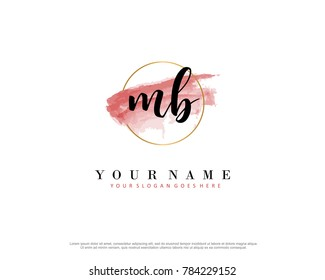 M B Initial water color logo template vector
