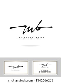 M B MB initial logo signature template vector. Handwriting concept logo.