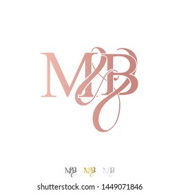M & B / MB logo initial vector mark. Rose gold. gold. silver color.