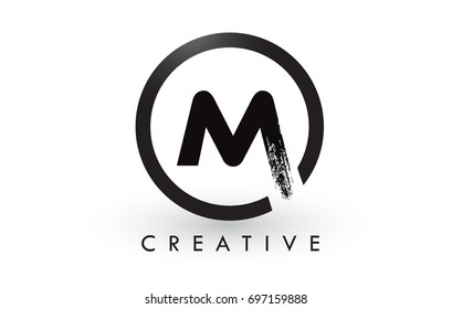 M Brush Letter Logo Design with Black Circle. Creative Brushed Letters Icon Logo.