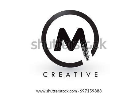 m brush letter logo design black のベクター画像素材 ロイヤリティ