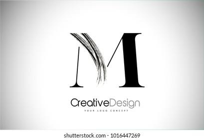 M Brush Stroke Letter Logo Design. Black Paint Logo Letter  Icon with Elegant Vector Design.