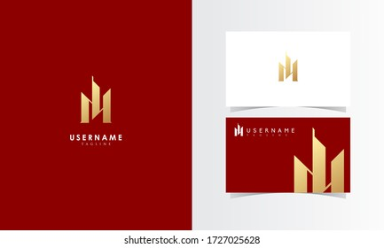 M Building Logo Mark with business card template design for branding identity