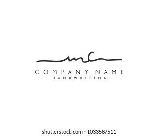 M C Initial handwriting logo