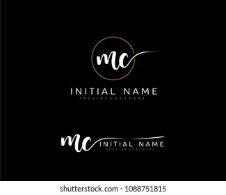 M C Initial handwriting logo vector. Hand lettering for designs.