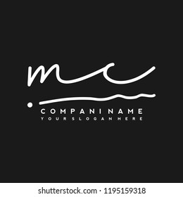 M C Initial handwriting logo vector