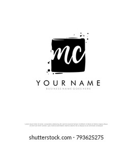 M C initial square logo template vector