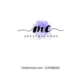 M C MC Initial watercolor logo on white background. Logo template vector