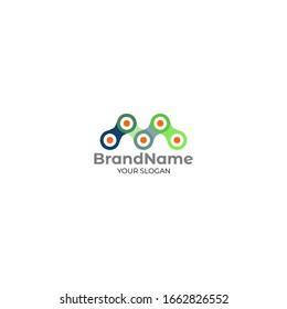 M Chain Logo Design Vector
