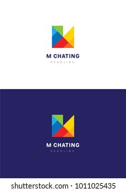M chating logo template.
