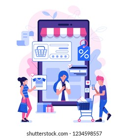 M commerce concept with people shopping on smartphone. Online mobile shopping scene with man and woman making purchases on internet. E-commerce advertising illustration.