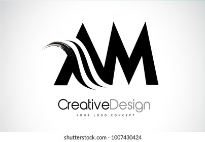AM A M Creative Modern Black Letters Logo Design with Brush Swoosh