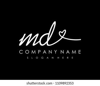 M D Initial handwriting logo vector