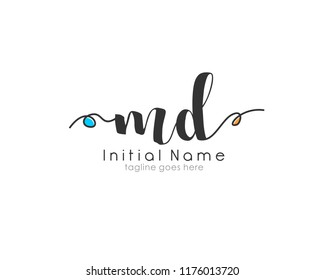 M D Initial handwriting for logo template vector with abstract line