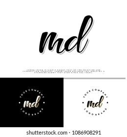 M D initial name vintage logo vector