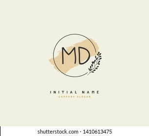 M D MD Beauty vector initial logo, handwriting logo of initial wedding, fashion, jewerly, heraldic, boutique, floral and botanical with creative template for any company or business.