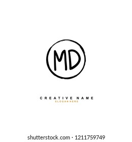 M D MD Initial abstract logo concept vector