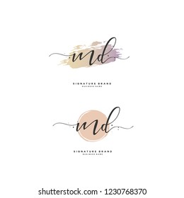 M D MD Initial logo template vector