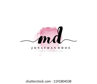 M D MD Initial watercolor logo on white background. Logo template vector
