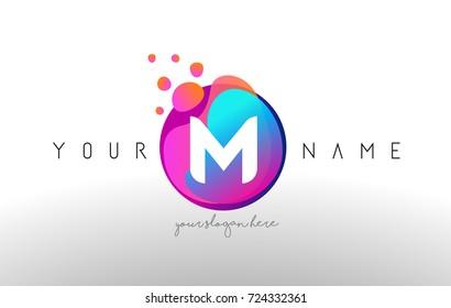 M Dots Letter Logo With Bubbles. A Letter Design Vector with Vibtant Blue Orange Magenta Colors Particles Shapes.