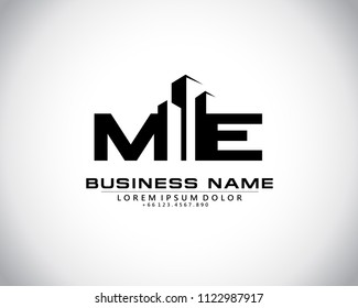 M E Initial logo concept with building template vector.