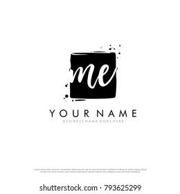 M E initial square logo template vector