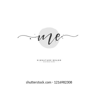 M E ME initial logo handwriting  template vector