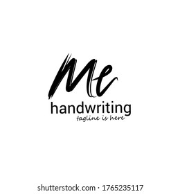 m e me initial logo handwriting template vector. isolated white background