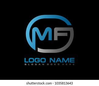 M F Initial circle logo template vector