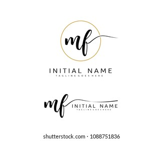 M F Initial handwriting logo vector. Hand lettering for designs.