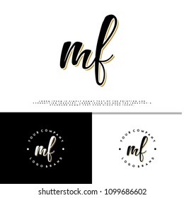 M F initial name vintage logo vector
