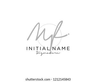M F Signature initial logo template vector