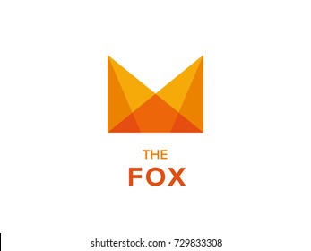 M Fox logo concept. Minimal M letter logo design template. Geometric Fox head logotype. Colorful Foxy face emblem for Corporate Business Identity. Creative Vector element