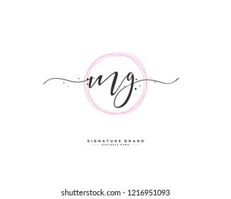 M G MG initial logo handwriting  template vector