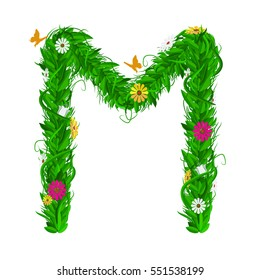 M Green eco letter with leaves and flowers for your design. Flat color style. Spring and summer concept. Vector Illustration