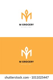 M grocery logo template.