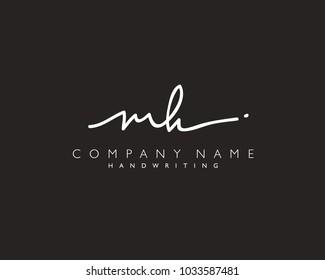 M H Initial handwriting logo
