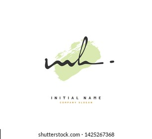 M H MH Beauty vector initial logo, handwriting logo of initial signature, wedding, fashion, jewerly, boutique, floral and botanical with creative template for any company or business.