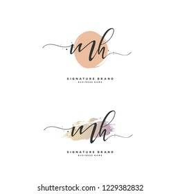 M H MH Initial logo template vector